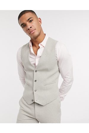 ASOS DESIGN wedding super skinny suit waistcoat in neutral wool blend houndstooth-Stone