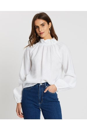 AERE High Neck Linen Blouse - Tops High Neck Linen Blouse