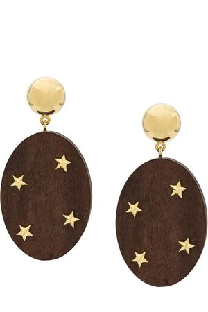 ESHVI Star embellished wooden drop earrings