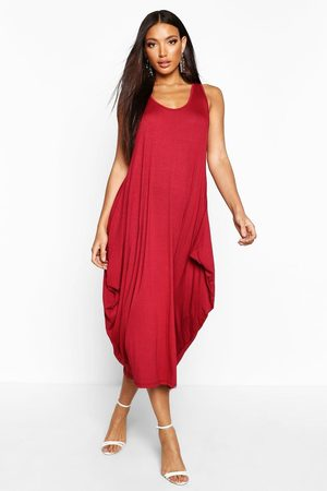 Boohoo Racer Back Ruched Maxi Dress- Berry