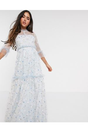 By Malina Alva embroidered maxi dress in blue