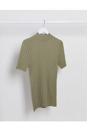 T-shirts - ASOS DESIGN knitted muscle fit rib t-shirt in khaki-Green