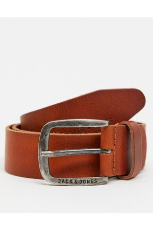 Jack & Jones smooth leather belt with logo buckle in brown