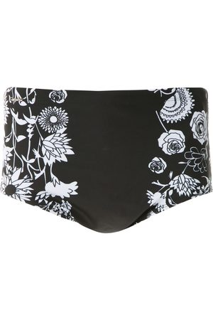 AMIR SLAMA Hibiscus flowers print swim trunks