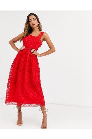 Women Midi Dresses - ASOS DESIGN broderie cami midi prom dress in red