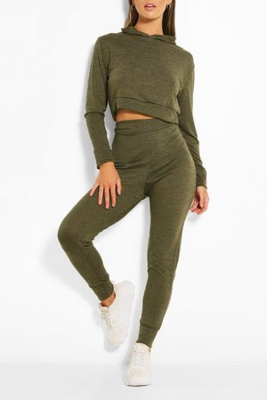 Boohoo Melange Knitted Hoody & Jogger Co-Ord Set- Khaki