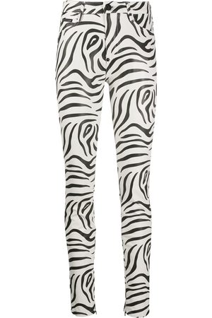 Philipp Plein High-waisted zebra print trousers