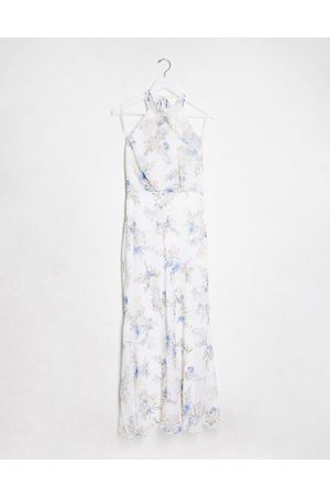 Forever New high neck maxi dress in bluebell ivory floral print-Multi