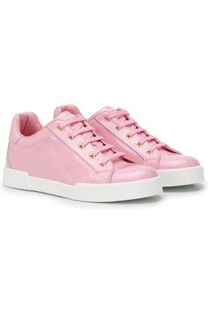Dolce & Gabbana Kids Lace-up shiny leather sneakers