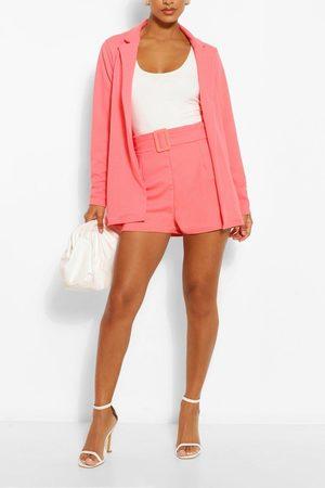 Boohoo Blazer & Self Fabric Belt Short Suit Set- Coral