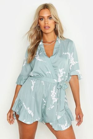 Boohoo Plus Abstract Floral Print Ruffle Tie Playsuit- Sage