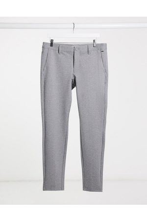 Only & Sons stretch smart pant in grey pinstripe