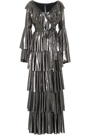 Norma Kamali Ruffled lamé maxi dress