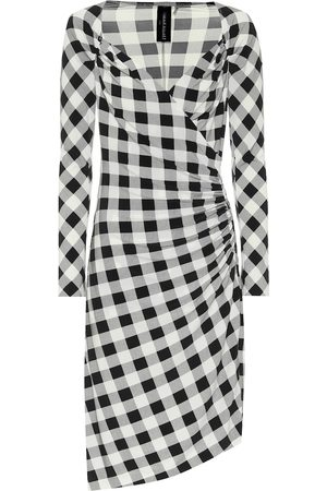 Norma Kamali Women Asymmetrical Dresses - Exclusive to Mytheresa – Checked jersey asymmetric dress