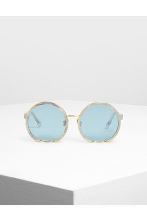 CHARLES & KEITH Cut Off Frame Round Sunglasses