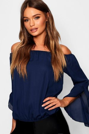 Boohoo Fluted Frill Sleeve Off The Shoulder Top- Navy