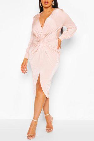 Boohoo Plus Twist Front Plunge Midi Dress- Blush
