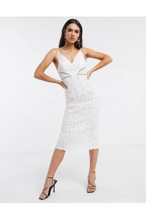 ASOS DESIGN lace midi dress with ladder trim detail in white