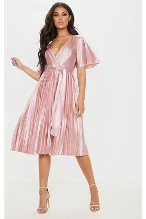 PRETTYLITTLETHING Mairee Dusty Satin Pleated Midi Dress