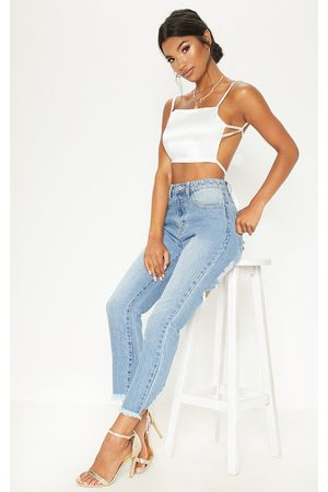 PRETTYLITTLETHING Cream Satin Backless Strappy Crop Top