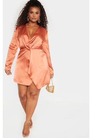PRETTYLITTLETHING Plus Rust Satin Long Sleeve Wrap Dress