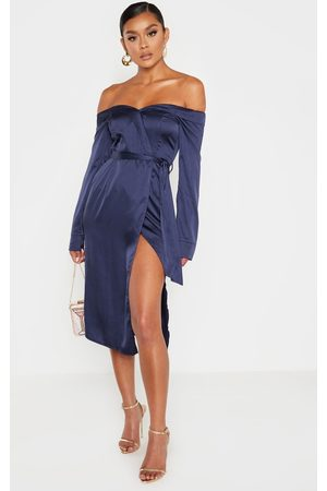 PRETTYLITTLETHING Navy Satin Bardot Lapel Detail Wrap Midi Dress