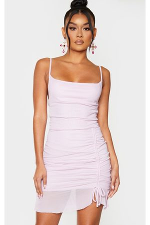 PRETTYLITTLETHING Lilac Strappy Mesh Ruched Bodycon Dress