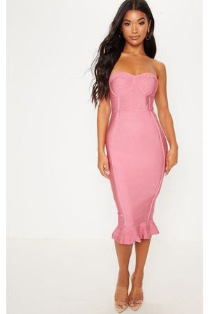 PRETTYLITTLETHING Rose Frill Hem Bandage Midi Dress