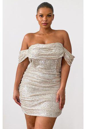 PRETTYLITTLETHING Plus Cream Sequin Bardot Bodycon Dress
