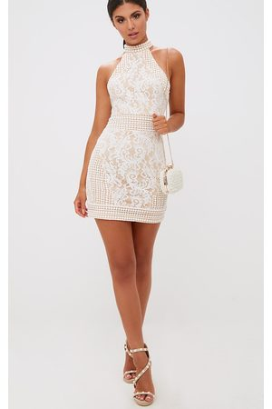 PRETTYLITTLETHING High Neck Lace Crochet Bodycon Dress