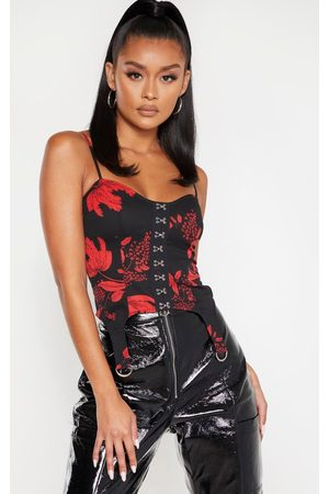 PRETTYLITTLETHING Floral Woven Hook and Eye Curved Hem Corset Top