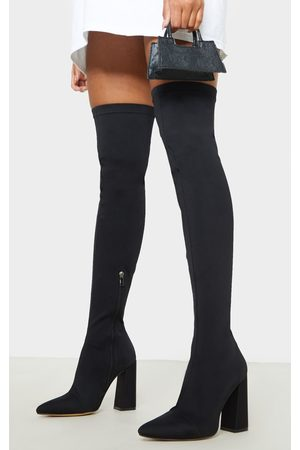 PRETTYLITTLETHING High Point Lycra Thigh High Boot