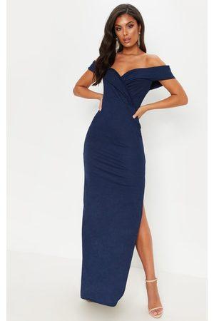 PRETTYLITTLETHING Navy Bardot Fold Detail Extreme Split Maxi Dress