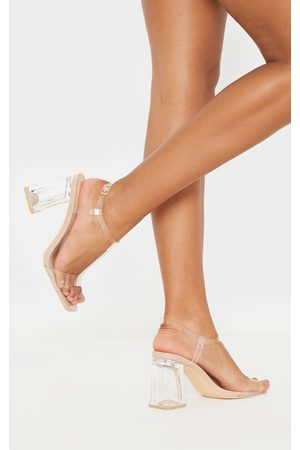 PRETTYLITTLETHING Nude Clear Block Heel Strappy Sandal