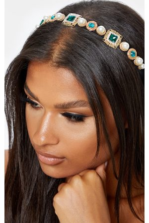PRETTYLITTLETHING Women Headbands - Emerald And Pearl Headband