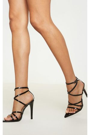PRETTYLITTLETHING Patent Strappy Point Toe Heels