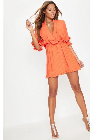 PRETTYLITTLETHING Bright Frill Detail Pleated Skater Dress
