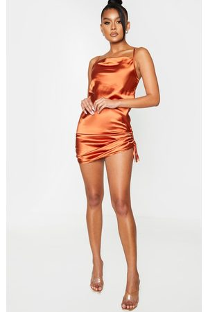 PRETTYLITTLETHING Rust Satin Strappy Cowl Neck Ruched Bodycon Dress