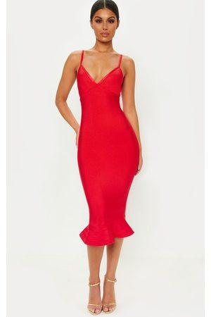 PrettyLittleThing Midi Dresses - Bandage Strappy Frill Hem Midi Dress