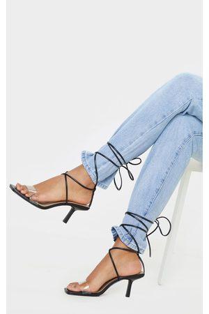 PRETTYLITTLETHING Low Heel Clear Strap Ankle Tie Sandal