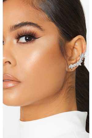 PRETTYLITTLETHING Crystal Floral Affect Chain Ear Climber