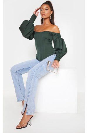 PRETTYLITTLETHING Emerald Bardot Balloon Sleeve Corset Top
