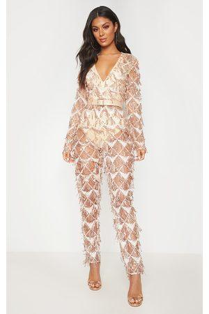 PRETTYLITTLETHING Rose Tassel Sequin Plunge Jumpsuit