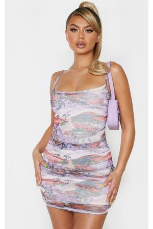 PRETTYLITTLETHING Lilac Oriental Print Mesh Ruched Strappy Bodycon Dress
