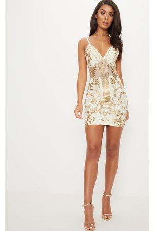 PRETTYLITTLETHING Sheer Strappy Panel Sequin Bodycon Dress