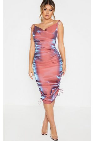 PRETTYLITTLETHING Metallic Shimmer Cowl Neck Tie Strap Midi Dress