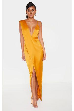 PRETTYLITTLETHING Mustard Asymmetric Drape Detail Maxi Dress