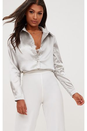 PRETTYLITTLETHING Truffle Satin Button Front Shirt