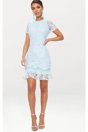 PRETTYLITTLETHING Women Bodycon Dresses - Dusty Frill Hem Lace Bodycon Dress