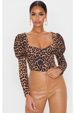PRETTYLITTLETHING Tan Leopard Crepe Puff Sleeve Square Neck Bodysuit